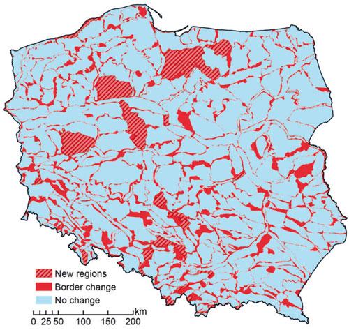 Zmiana granic regionów fizycznogeograficznych Polski