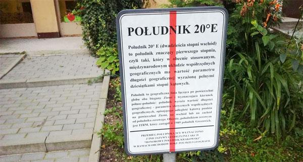 Południk 20 st. E w Krakowie