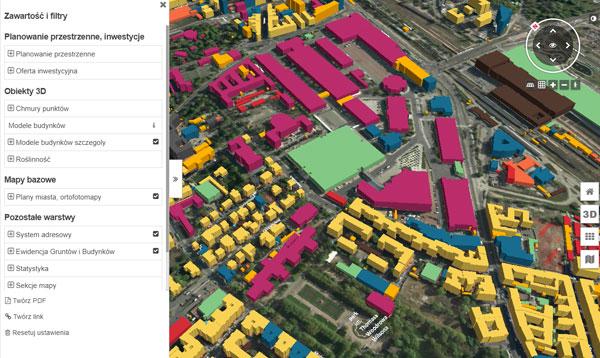 Model 3D zabudowy Poznania w szczegółowości LoD 1. Kolory modeli zróżnicowane wg funkcji budynku
