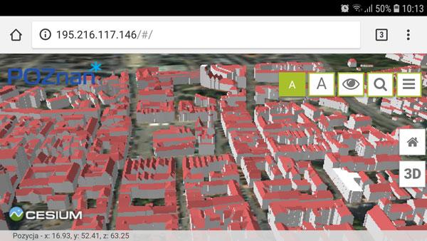 Model 3D Poznania w mobilnej przeglądarce