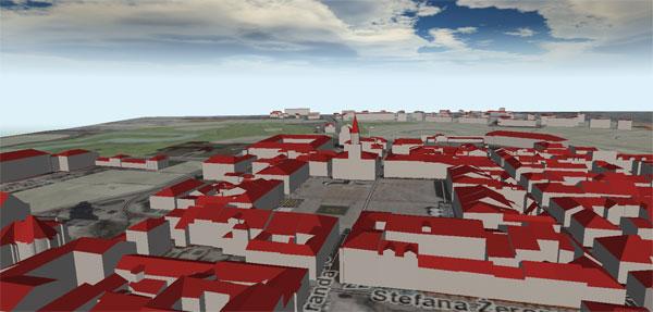 Model 3D zabudowy Zamościa