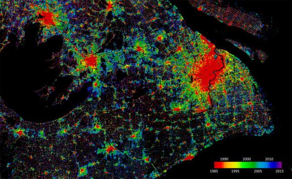 Rozrastanie się aglomeracji Szanghaju w latach 1985-2015 wg bazy WSF-Evolution (fot. DLR, GEE)