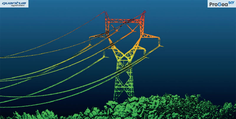1. Wizualizacja chmury punktów ULS fragmentu linii energetycznych (pozyskanej przy użyciu Qube 240)