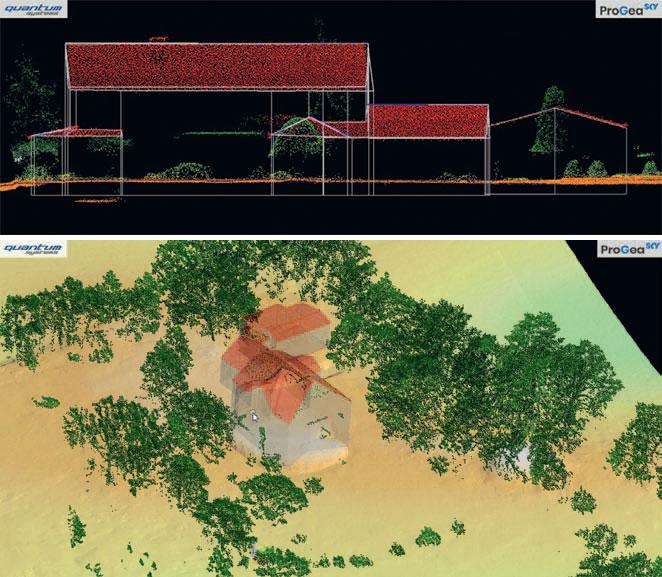 3. Powyżej: modele 3D budynków, po lewej: sklasyfikowana chmura punktów ULS Qube 240 (Terrasolid; TerraScan)