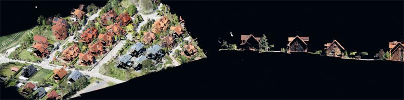 Rys. 7. Chmura punktów ULS lidar pozyskana systemem GS-260P i pokolorowana przy użyciu zdjęć z kamery Sony RX1RII (42 Mpx