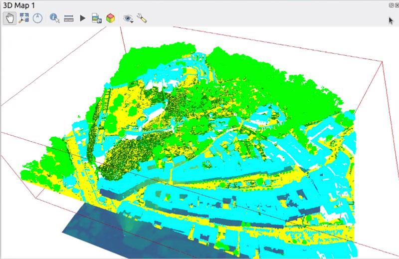 Wizualizacja chmury punktów w otwartym oprogramowaniu QGIS 3.18