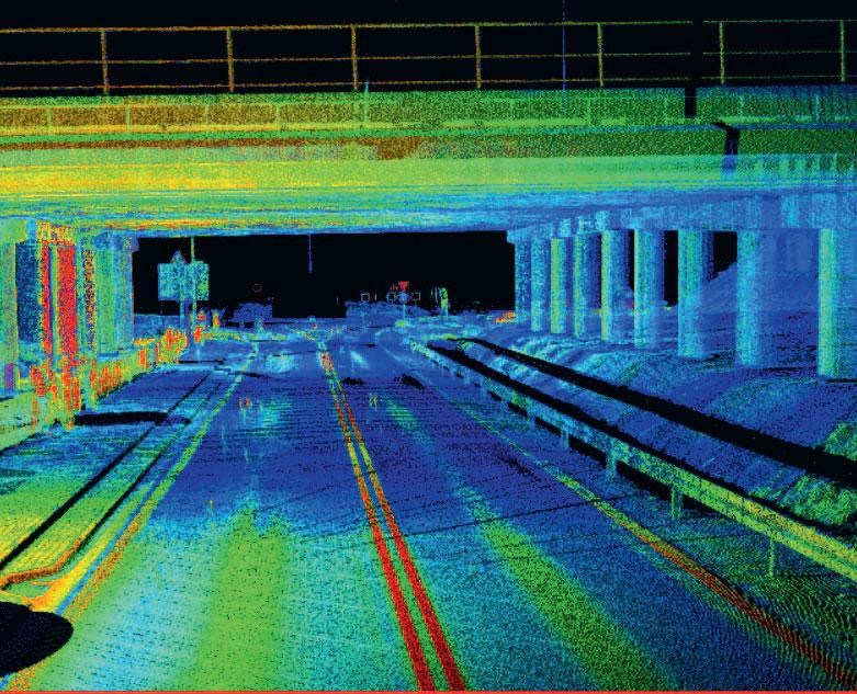 9. Skan 3D wiaduktu pozyskany w celu uzupełnienia danych z pomiarów metodami klasycznymi (oprogramowanie Topcon Magnet Collage)