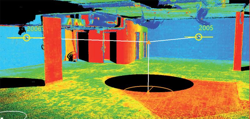 2. Chmura punktów z pojedynczego stanowiska z dwoma punktami nawiązania pokolorowana według intensywności odbicia (oprogramowanie Topcon Magnet Collage)