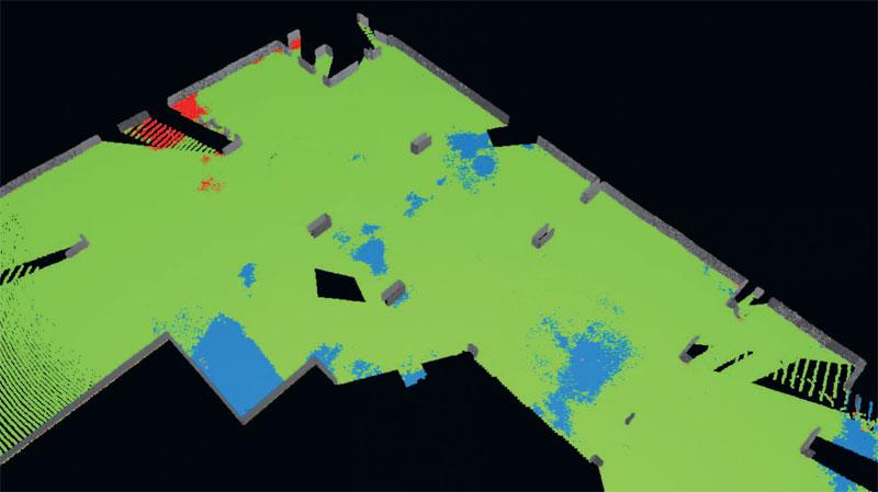 3. Chmura punktów posadzki pokolorowana według wartości odchyłki od poziomu. Kolor czerwony i niebieski – odchyłki powyżej 1,5 cm. Kolor zielony – odchyłki do 1,5 cm (oprogramowanie Gexcel Reconstructor)