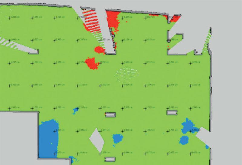 4. Kolorystyczna mapa odchyłek poziomości wraz z siatką punktów z dokładnymi wartościami (oprogramowanie Gexcel Reconstructor)