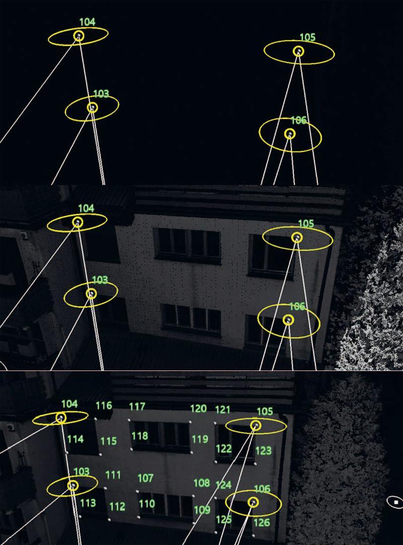 8. Od góry: punkty zmierzone tachimetrycznie, punkty zmierzone tachimetrycznie wraz z chmurą punktów, uzupełnienie danych z pomiaru tachimetrycznego punktami pozyskanymi ze skanu 3D