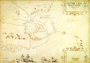 Mapa wielkoskalowa Lwowa z naniesionym projektem fortyfikacji, 1635, Fryderyk Getkant, Atlas, reprodukcja I.1