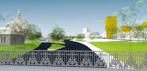 W istniejący model 3D kolorem żółtym wpisano bryłę o wysokości wnioskowanej przez właściciela nieruchomości (80 m)