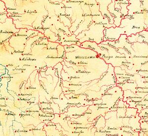 1a. Fragment mapy hydrograficznej Polski, 1785 r. (kopia koniec XVIII w.), Karol Perthées  (autor oryginału)