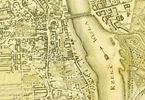 Fragment mapy Warszawy i terytoriów przedmiejskich, 1779 r. Pierre Hennequin, ryt. Keyl, wyd. Michał Gröll