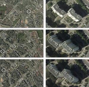Fot. Trzy zdjęcia lotnicze wraz z ich powiększonymi fragmentami