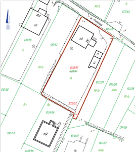 Mapa z projektem podziału działki 328/57 na dwie działki: nr 1279/57 o powierzchni 1080 m kw. oraz 1278/57 o powierzchni 6 m kw. Sprawę rozstrzygał WSA w Gliwicach