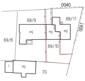 Fragment mapy ze zmianami wprowadzanymi w trybie modernizacji ewidencji gruntów i budynków