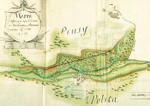 Fragment mapy sporu granicznego między polską wsią Wasiły i pruską wsią Baraniewo, 1788r., Jakub Jasiński, Archiwum Główne Akt Dawnych, Archiwum Królestwa Polskiego, 54, k. 326