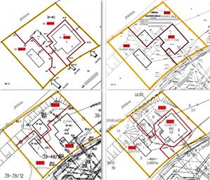 Cztery przykładowe projekty podziału z 11przygotowanych przez biegłych ibranych pod uwagę przez sąd [z artykułu Bogdana Grzechnika opublikowanego w GEODECIE 6/2018]