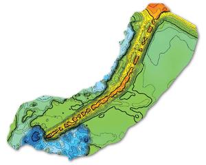 Przykład opracowania zrealizowanego sondą jednowiązkową. Model zbiornika Topola koło Kamieńca Ząbkowickiego wykonany przezfirmę GeoStatik w celu weryfikacji prac wydobywczych