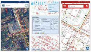 Przeglądanie danych PZGiK w aplikacjach (od lewej): Geoportal Mobile, Geoportal 2, wroSIP Mobile