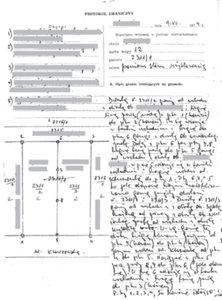1. Fragment protokołu granicznego spisanego w 1974 r. przypodziale działki