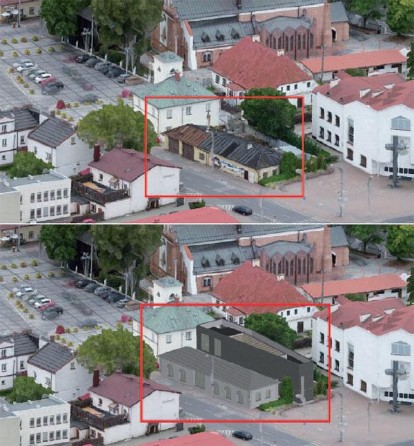 Rys. 2. Wpasowanie planowanej inwestycji w model 3D mesh centrum Piaseczna