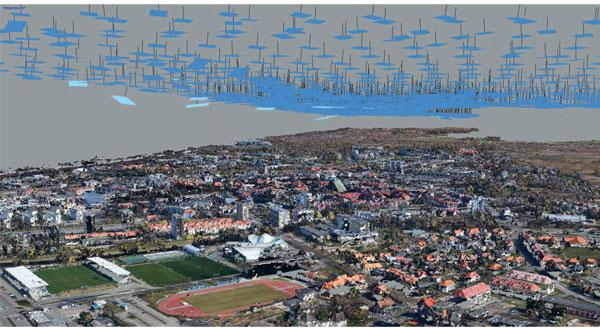 Chmura punktów na podstawie zdjęć z pokładu drona. Kołobrzeg 2019 r.