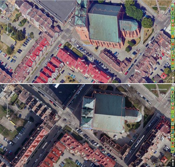 Fragmenty ortofotomap Kołobrzegu opublikowanych na miejskim geoportalu. U góry: z 2018 r. (MGGP Aero), na dole: z 2019 r. (Colidrone)