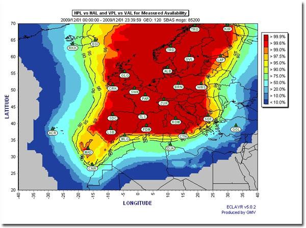 Dostępność EGNOS w Europie (źródło: EEGS)
