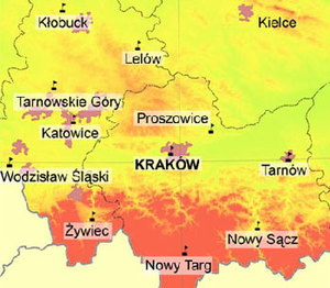 Przetarg na aktualizację Małopolskiego Systemu Pozycjonowania Precyzyjnego <br /> Rozmieszczenie stacji referencyjnych MSPP