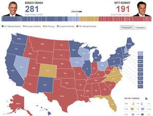 Amerykańska walka wyborcza na mapach