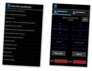 Kalkulator geodezyjny na Androida