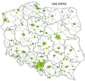 Ortofotomapy ISOK skompletowane <br /> Zasięg danych w projekcie ISOK (orto)