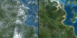 Świat bez chmur w rozdzielczości 15 m <br /> Sumatra w PlanetSAT 15 przed i po wyeliminowaniu zdjęć z chmurami