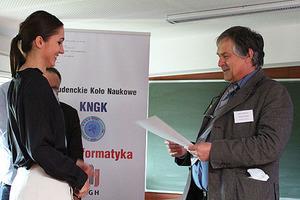 O analizach środowiskowych na AGH <br /> Marta Ociepa, laureatka pierwszego miejsca w konkursie referatów (fot. Michał Starzec)