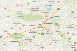 Wisła wyschła na Mapach Google
