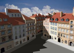 Kto wykona model 3D Warszawy? <br /> fragment modelu 3D Starego Miasta z 2008 r.