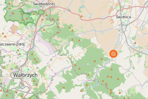 Wypadek fotogrametrycznego śmigłowca na Dolnym Śląsku <br /> mapa: OpenStreetMap