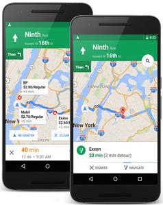 Mapy Google znajdą stację na trasie