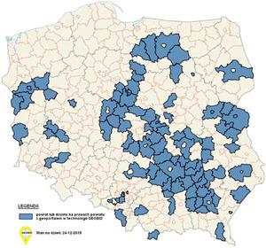 100 geoportali Geobidu <br /> Mapa geoportali powiatowych Geobidu