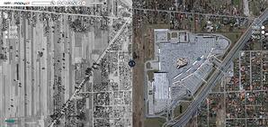 MGGP Aero uruchamia retromapy.pl, czyli miasta na zdjęciach lotniczych sprzed lat <br /> Fragment Łodzi w serwisie retromapy.pl