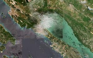 Europa okiem Sentinela-2 w internecie <br /> Fragment wybrzeża Chorwacji (fot. SentinelMap.eu)