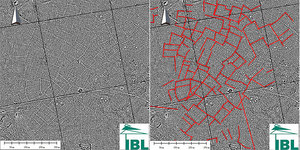 Laserowe odkrycie w Puszczy Białowieskiej <br /> Wizualizacja danych lidarowych (przetworzenie LRM - local relief model). Jedno ze skupisk obiektów liniowych ? układów czworobocznych konstrukcji na terenie Puszczy Białowieskiej (oprac. IBL)