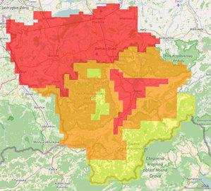 Śląskie samorządy zamawiają geodane <br /> Zamawiane produkty: kolor czerwony - ortofotomapa 5 cm i zdjęcia ukośne, pomarańczowy - 10 cm, żółty - 25 cm