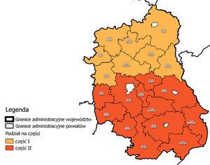Trzech chętnych do ortofotomapy woj. lubelskiego <br /> Szkic podziału województwa lubelskiego na części I i II (fot. SIWZ)