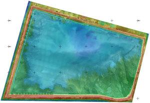 Pomiar podwójnie bezzałogowy <br /> Ortofotomapa nałożona na numeryczny model terenu
