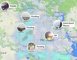 Mapa Snapchata pomaga ofiarom huraganu Harvey