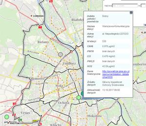 Dane ze stacji pomiarowych GIOŚ w stołecznym geoportalu
